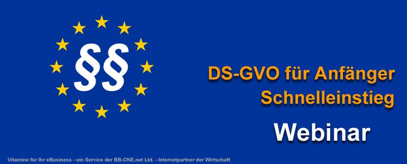 Webinar DS-GVO für Anfänger im Schnelllauf