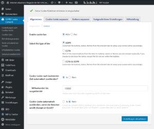 WordPress Plugin GDPR Consent Cookie Banner